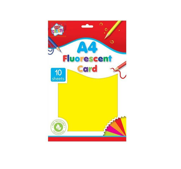Kids Create A4 Fluorescent Card Assorted Colours 10 Sheets