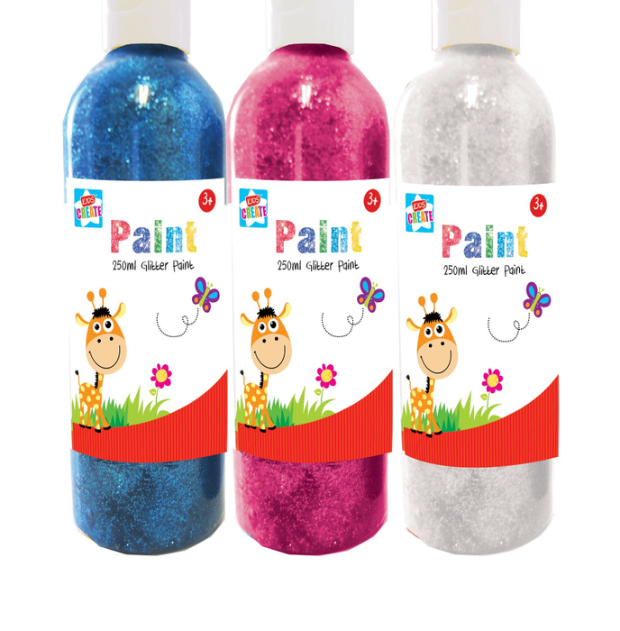 Glitter Paint 250ml 4 Assorted Colours