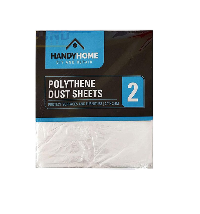 Handy Home Polythene Dust Sheets 2.7x3.6m 2 Pack