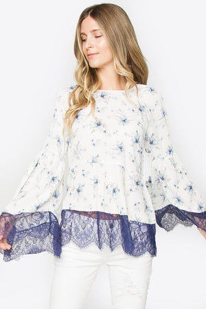 Bashful Lace Bell Sleeve Top