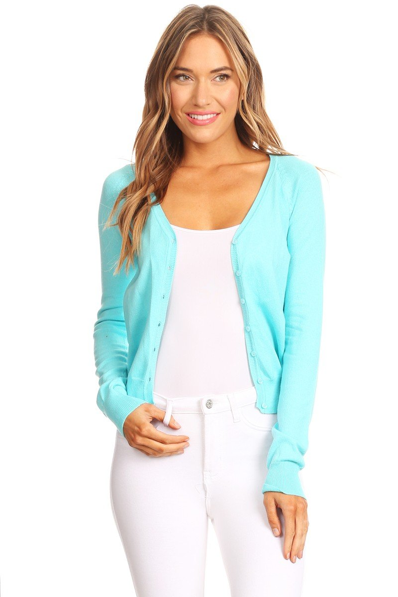 V Neck Cardigan Sweater with Long Sleeves