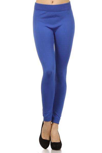 Solid Colored High Waist Full Length Leggings