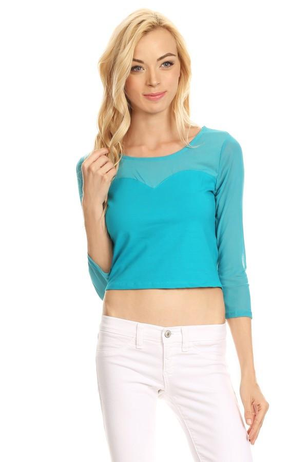 Long Sleeve Contrast Crop Top