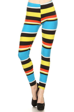 Print Leggings Multicolored Striped