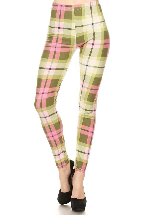 Print Leggings Green Plaid