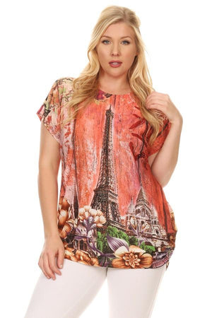 Plus Size Short Sleeve Shirt Print 37