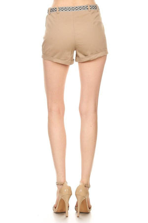 Twill Shorts With Tribal Belt