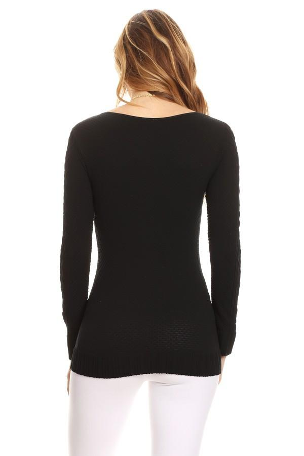 Solid Knit Top Long Sleeve