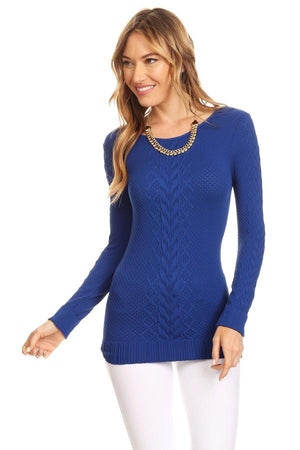 Solid Textured Long Sleeve Fitted Knit Top