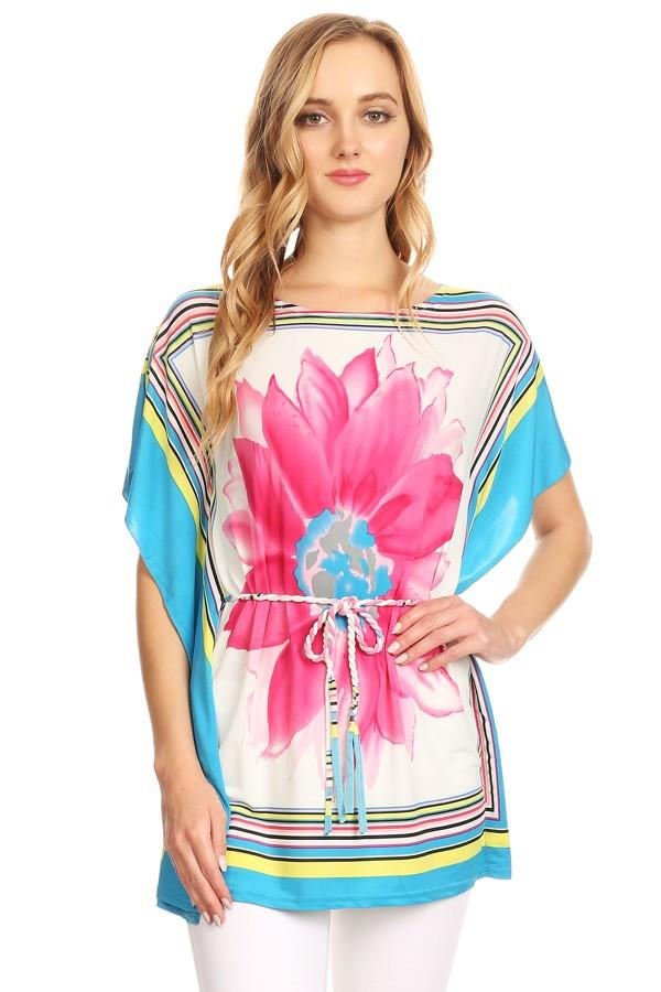 Floral Scarf Printed Long Body Top