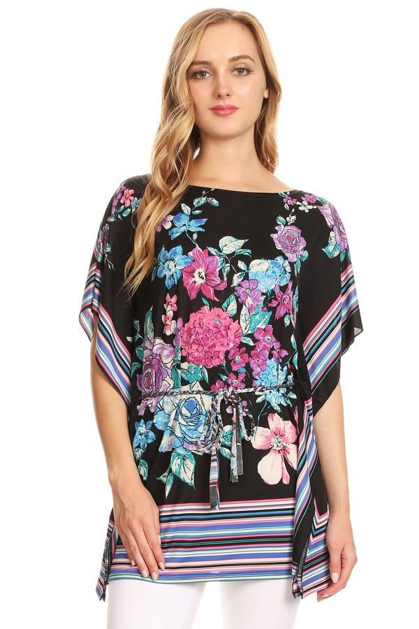 Mixed Floral Scarf Printed Long Body Top
