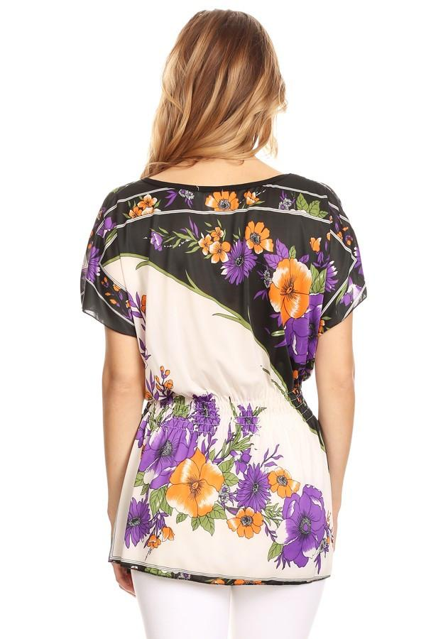 Purple Floral Printed Long Body Top