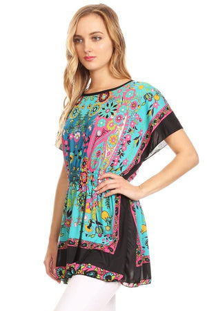 Abstract Floral Printed Long Body Top
