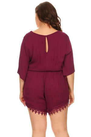 Plus Size Solid Romper Long Sleeve