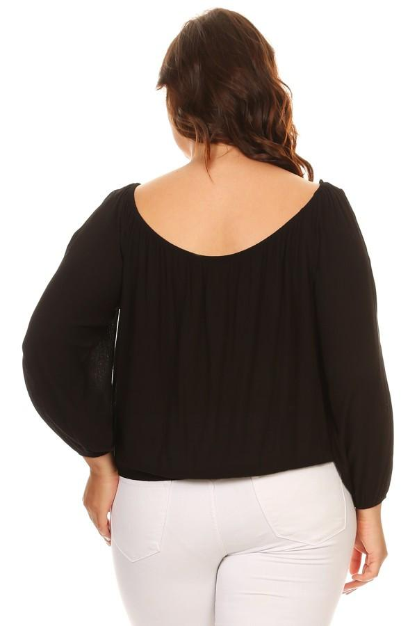 Solid Top Open Long Sleeve