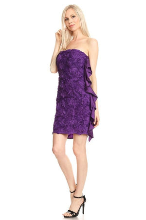 Purple 3-D Floral Pattern Dress