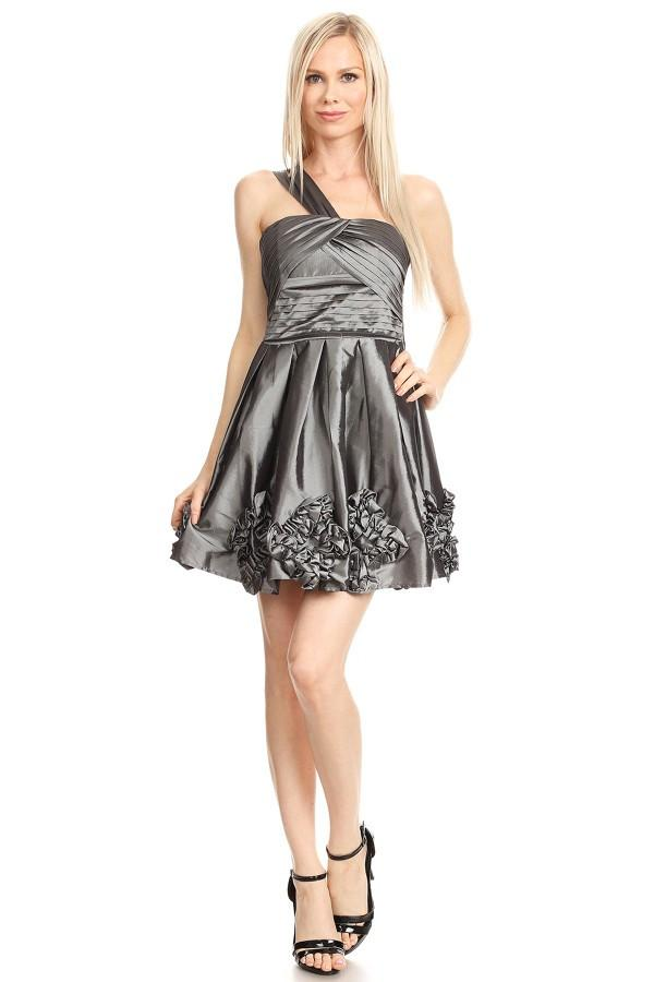 Silver Solid Taffeta One Shoulder Flare Dress