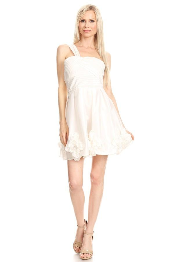 White Solid Taffeta One Shoulder Flare Dress