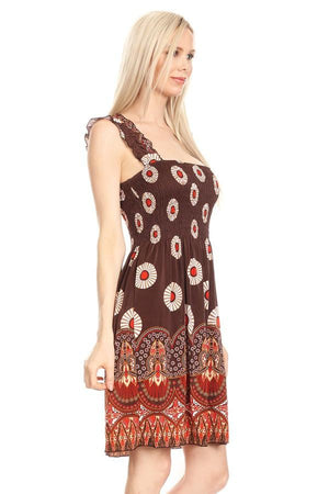 Sleeveless Medallion and Tapestry Print A-Line Dress