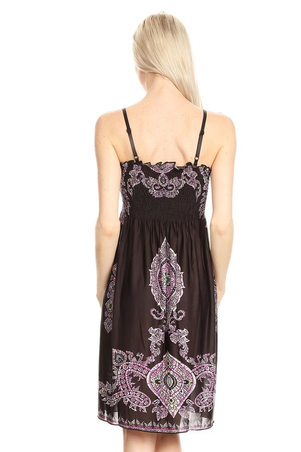 Sleeveless Tapestry Print A-Line Print Dress