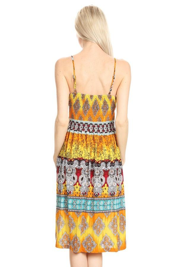 Sleeveless Border Tapestry Printed A-Line Print Dress