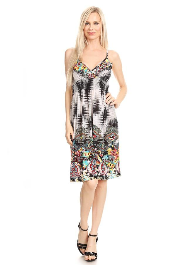 Sleeveless Paisley Printed A-Line Print Dress