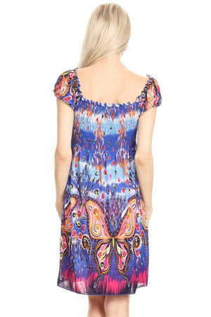 Butterfly Tapestry Print Dress