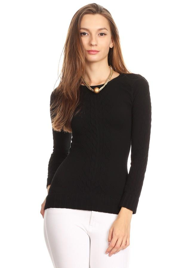 Jacquard Cable Knit Top Long Sleeves