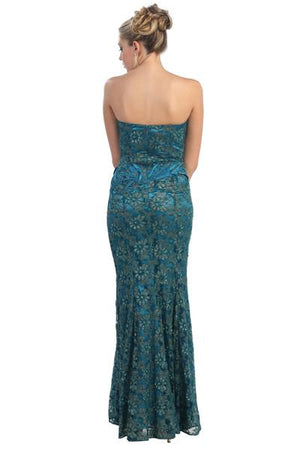 Embellished Floral Strapless Gown