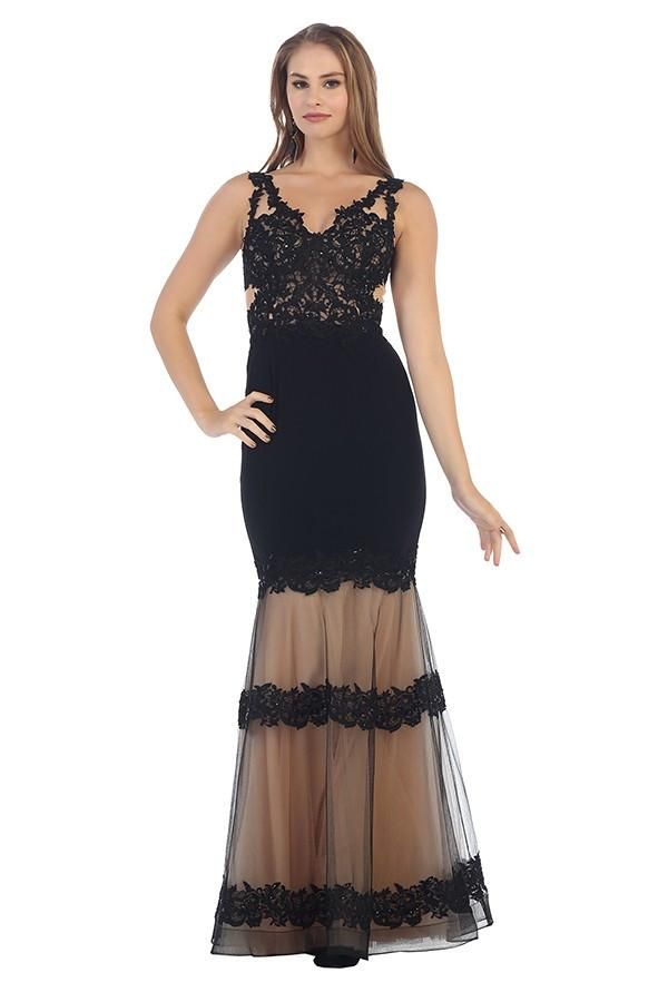 Lace Trim Embellished Mesh Gown