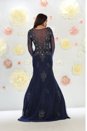 Long Sleeve Beaded Embroidered Gown