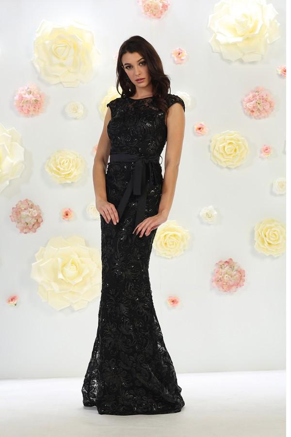 Long Elegant Embroidered Lace Dress