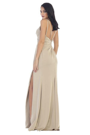 Solid Embellished Slit Gown