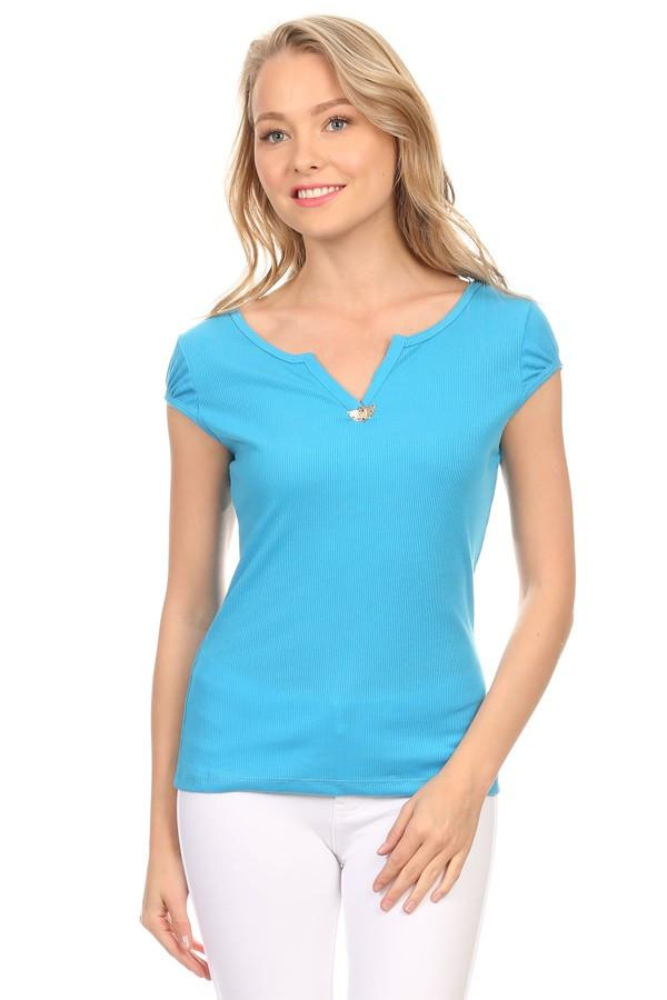Solid Short Sleeve V-neck T-shirt