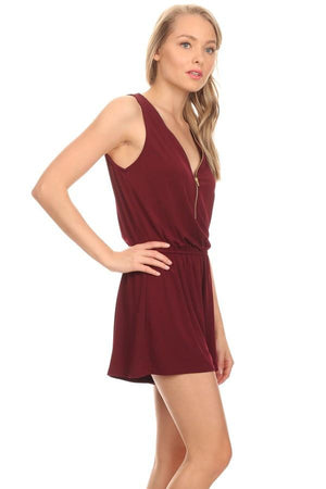 Sleeveless Romper with Zipper