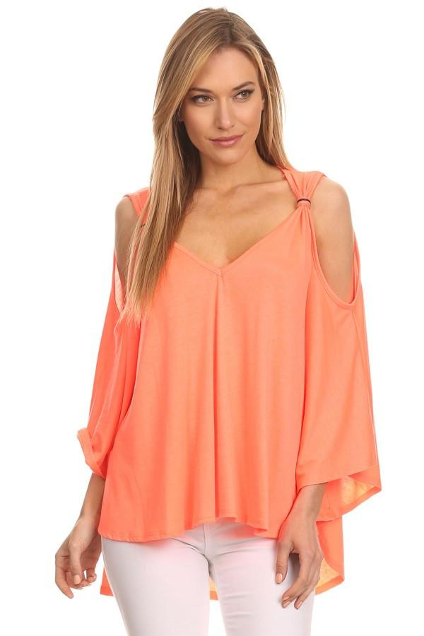 Plus Size Relaxed Open Sleeve Blouse
