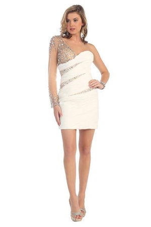 Illusion Sleeve Mesh Dress With Beaded Design
