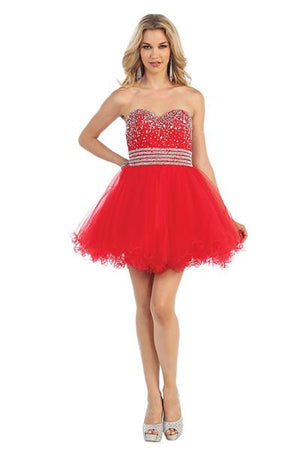 Embellished Beaded Strapless Tulle Dress