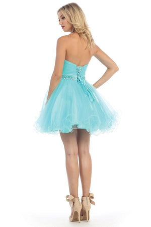 Strapless Sweetheart Tulle Dress with Belt Design
