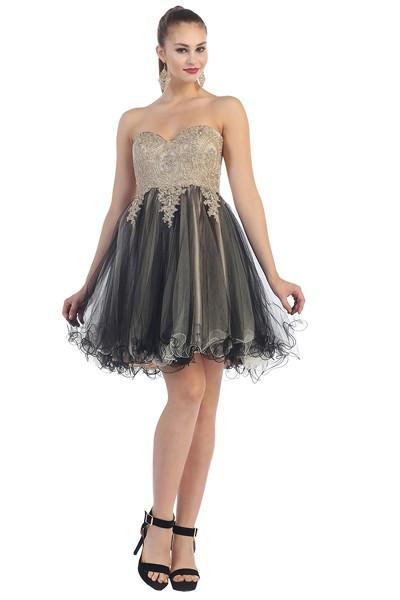 Strapless Embellished Sweetheart Embroidered Tulle Dress