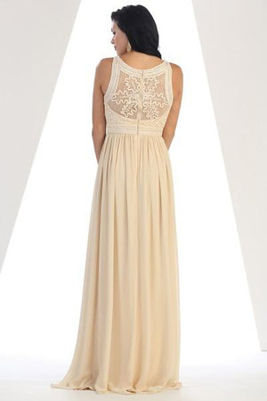 Solid Embroidered Lace Maxi Gown