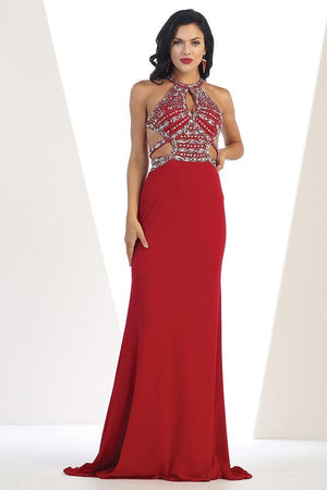 Embellished Beaded Halter Gown