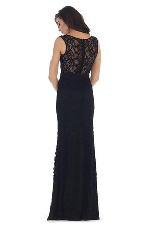 Sleeveless Embellished Lace Design Gown