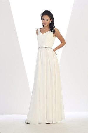Long Sleeveless Chiffon Dress With Belt