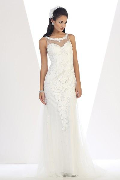 Long Sleeveless Embroidered Mesh Gown