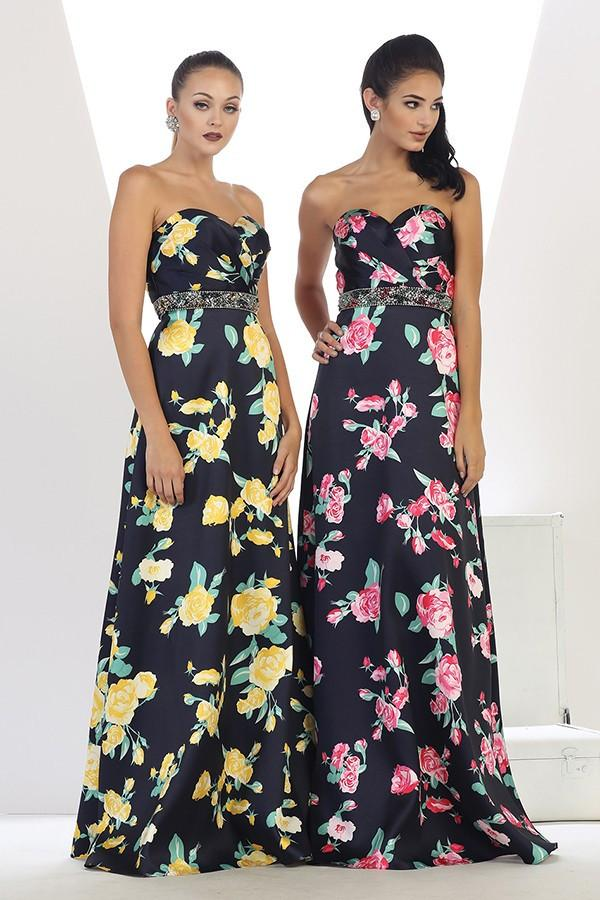 Long Strapless Floral Design Gown