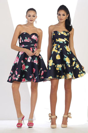 Strapless Sweetheart Floral Dress