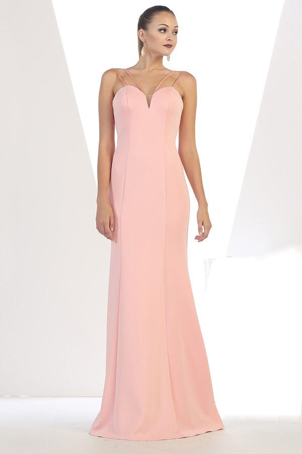 Solid Long Spaghetti Strap Gown