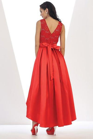 High-Low Embroidered Laced Gown