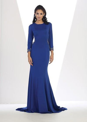 Solid Mid Sleeve Trim Design Long Gown